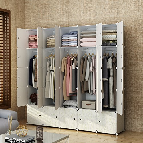 MAGINELS Closet Shelves Wardrobe Clothes Organizer Cube Storage Armoire Cabinet Dresser for Bedroom Portable Wood Grain 10 Cube & 5 Hanging Section