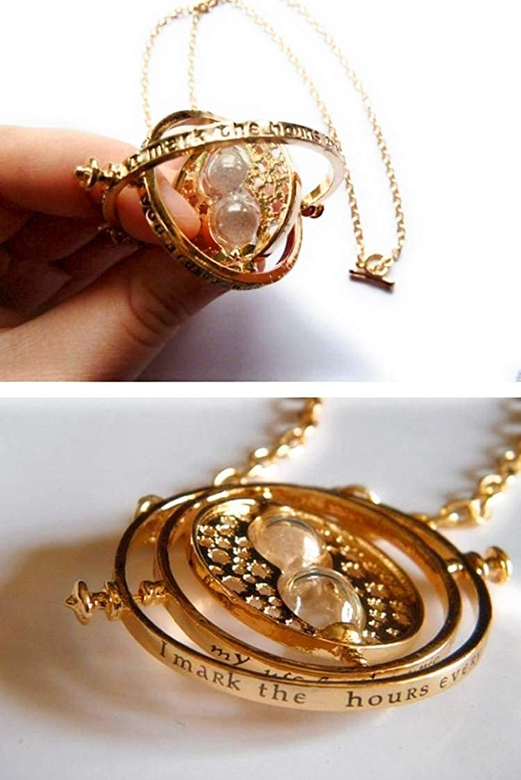 Paradise Kiss Harry Potter Hermione Granger Time Turner Necklace Pendant Hourglass Film Replica (Gold)