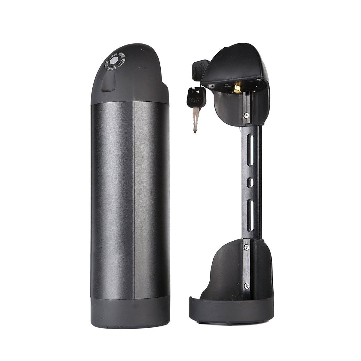 EVERPRO Trinkflaschenakku mit Samsung Zellen 36v 10.4Ah für E-Bike Pedelec Schwarz Ersatzakku mit Ladegerät