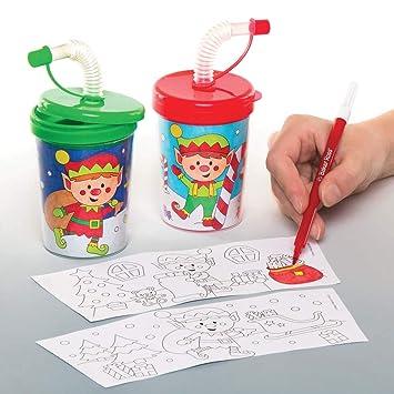 Manualidades Duendes De Navidad.Baker Ross Vasos Con Pajita Flexible De Duende De Navidad