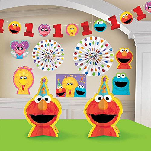 Sesame Street Birthday Decoration Ideas (Amscan Sesame Street 1st Birthday Decorating Kit, Large, Red/Pink/Blue/Yellow/Green)