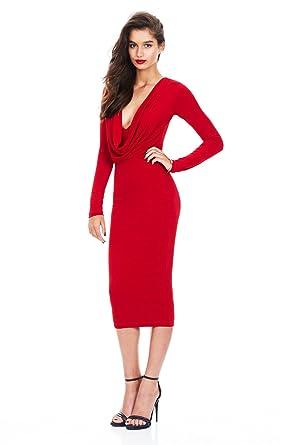 best website 912de 4a11b COCO clothing Damen Normallacks Midikleid Langarm ...