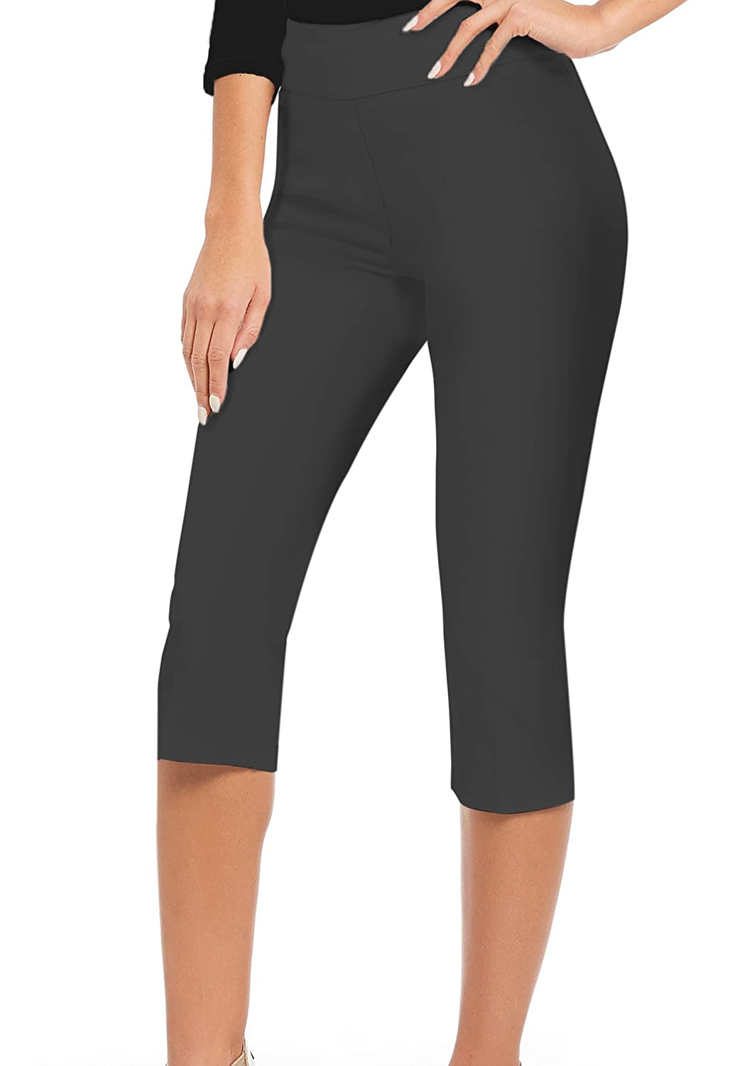Charcoal HyBrid & Company Women Comfy Stretch Pull On Business Millennium Capri Pants