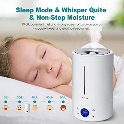 Cool Mist Humidifier Ultrasonic 5L/1.32 Gal for Baby, Bedroom, Home, Filter Free Vaporizer
