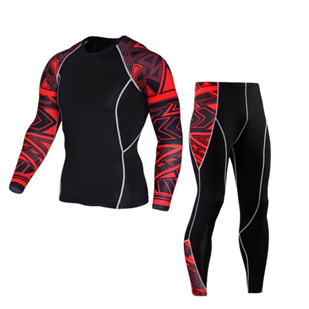 Realdo Mens Skinny Sport Sets, Slim Workout Leggings Fitness Gym Running Yoga Athletic Pants+Shirt Suit(Red,XX-Large)
