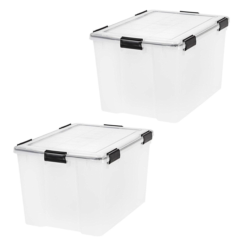IRIS USA, Inc. IRIS 74 Quart WEATHERTIGHT Storage Box, Clear, 2-Pack