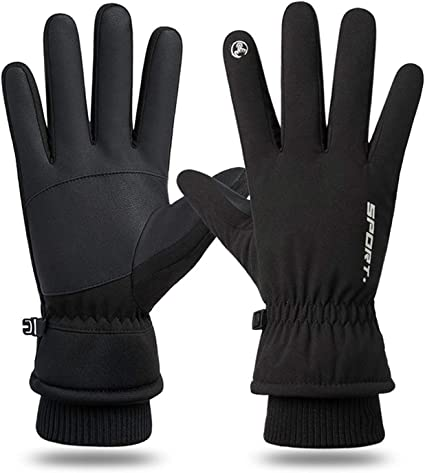 Cycling Gloves for Man Touch Screen Gloves Fleece Windproof Thermal PU Leather Waterproof Sports Gloves for Outdoor Cycling Driving Running Hiking