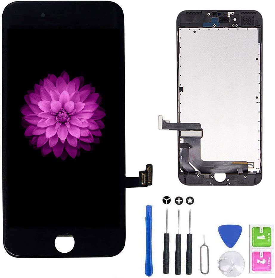 for iPhone 7 Screen Replacement Black (4.7''), LCD Display & Touch Screen Digitizer Frame Assembly Set with Free Repair Tool