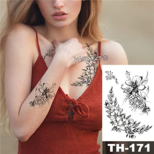 5 Piezas Impermeable Tatuaje boceto Pegatina patrón de línea de ...