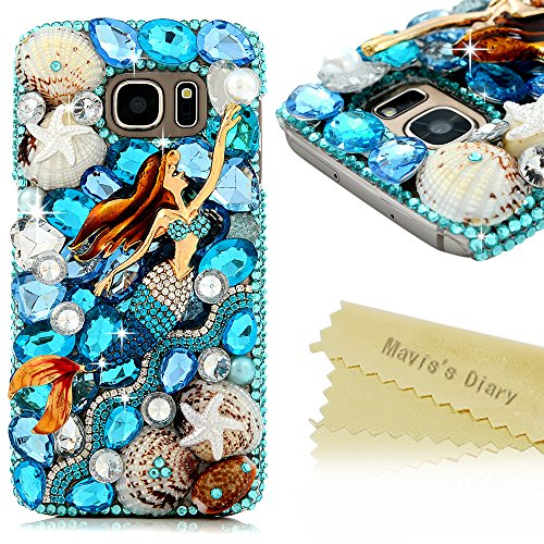 Galaxy S7 Case - Mavis's Diary Blue Ocean Series 3D Handmade Bling Crystal Mermaid with Shiny Blue White Diamond Glitter Rhinestone Gems Shell Ocean Design Clear Hard PC Cover for ()