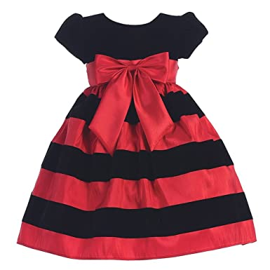 Amazon.com: Lito Red Black Velvet Flocked Stripe Christmas Dress ...
