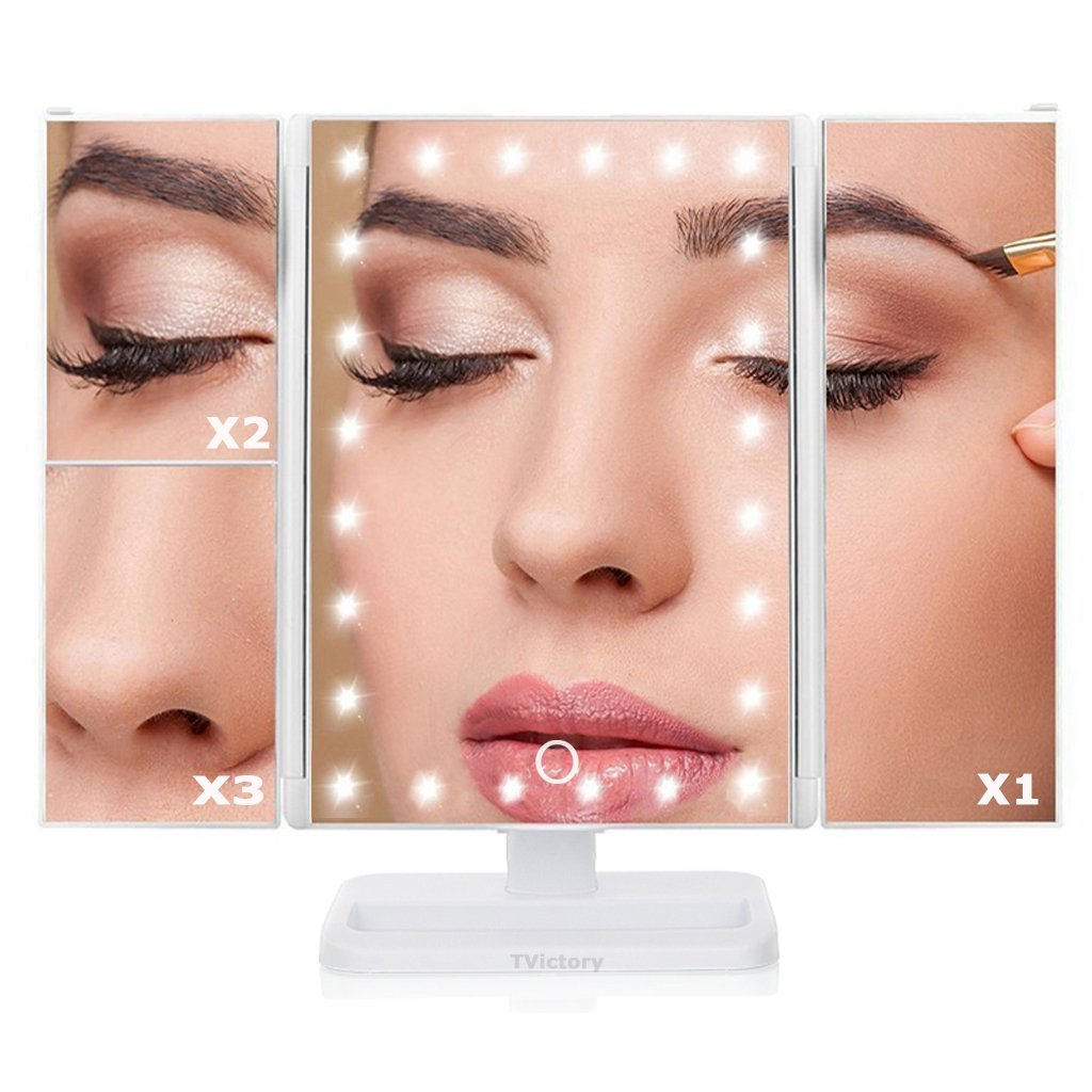 TVictory 3rd Gen Tri-Fold Lighted Mirror with 24 LEDs Lights for Makeup Vanity Cosmetic, Touch Screen and 3X/2X/1X Magnification, 180 Degree Free Rotation, 2 Power Supply Options, White