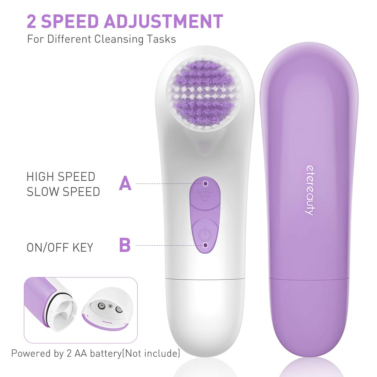 Facial Brush, Waterproof Facial Cleansing Brush Exfoliating Brush Body Brush - Purple