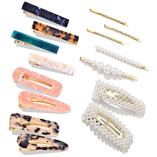 15 Pcs Pearls Hair Clips Cehomi Fashion Korean Style Acrylic Resin Hair Barrettes Hair Clip Hairpins For Women And Ladies Girls Headwear Styling Tools Hair Accessories by Cehomi