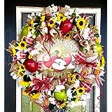 BEAUTIFUL Country Apple Deco Mesh Front Door Wreath, Autumn Fall Decor, Farmhouse Home House Decoration, Honeycrisp