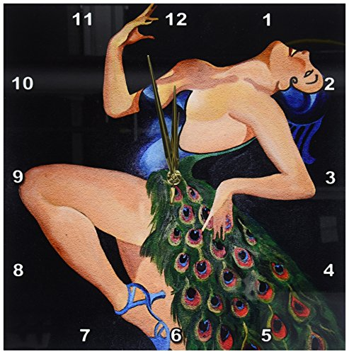 3dRose dpp_24925_2 Woman Peacock Party-Wall Clock, 13 by 13-Inch