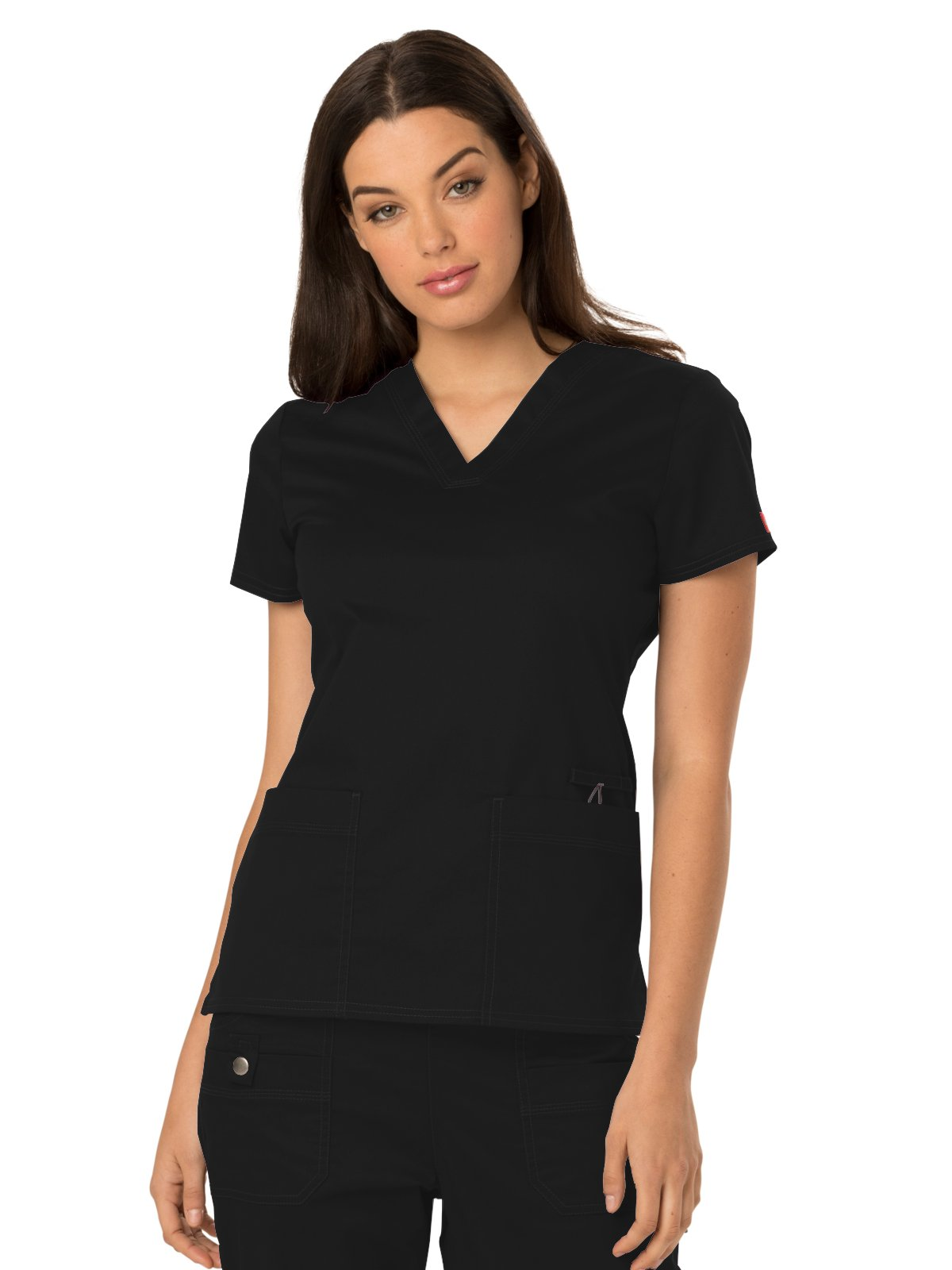 Dickies Gen Flex Women's V-Neck Solid Scrub Top Small Black by Dickies (Image #1)