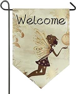 """senya Flower Fairy Welcome Garden Flag Double Sided Flag, 12"""" x 18.5"""" Home Decorative Seasonal Outdoor House Flag Yard Flag Sign"""