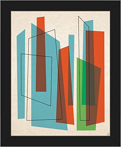 Broken Skyscrapers Blue Red and Green: Mid-Century Retro Modern Postmodern Abstract Shape Linear Painting Drawing Illustration Wall Art Print on Canva