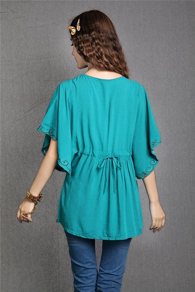 Kafeimali Womens Casual Embroidery Butterfly Sleeve Tops Shirt Tunic Blouse