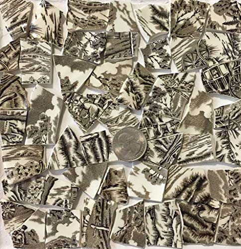 Mosaic Art & Crafts Supply ~ Brown & White Classic Transferware Tiles (B813)