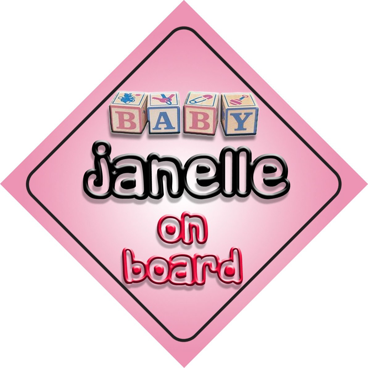 Bébé Fille Janelle on Board fantaisie Panneau de voiture Cadeau/cadeau pour nouveau/enfant nouveau-né