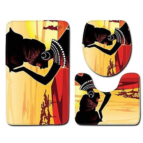 HLCUI 3 Sets Alfombra De Baño Mujer Africana Franela Alfombra En Relieve Absorbente Alfombra Antideslizante Conjunto