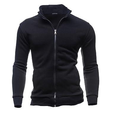 122366d7d Mumustar Plain Fleece Sweatshirt Zipper Jacket No Hooded Plain Full Zipper  Up Men Tops Wear: Amazon.co.uk: Clothing