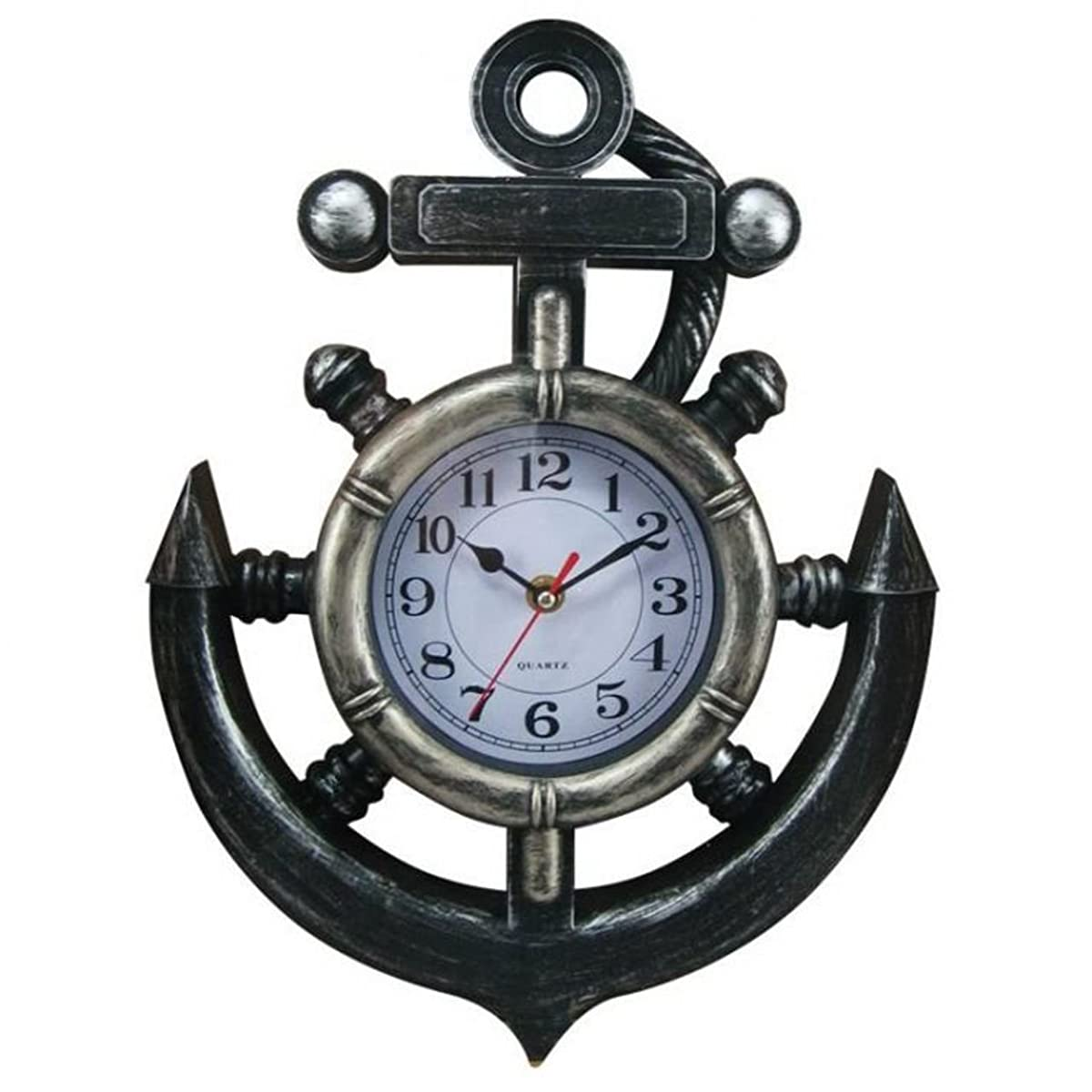 "Hampton Nautical Y-67039 Decorative Pewter Ship Wheel & Anchor Wall Clock 15"" - Decorative Anchor - Nautical Clock"