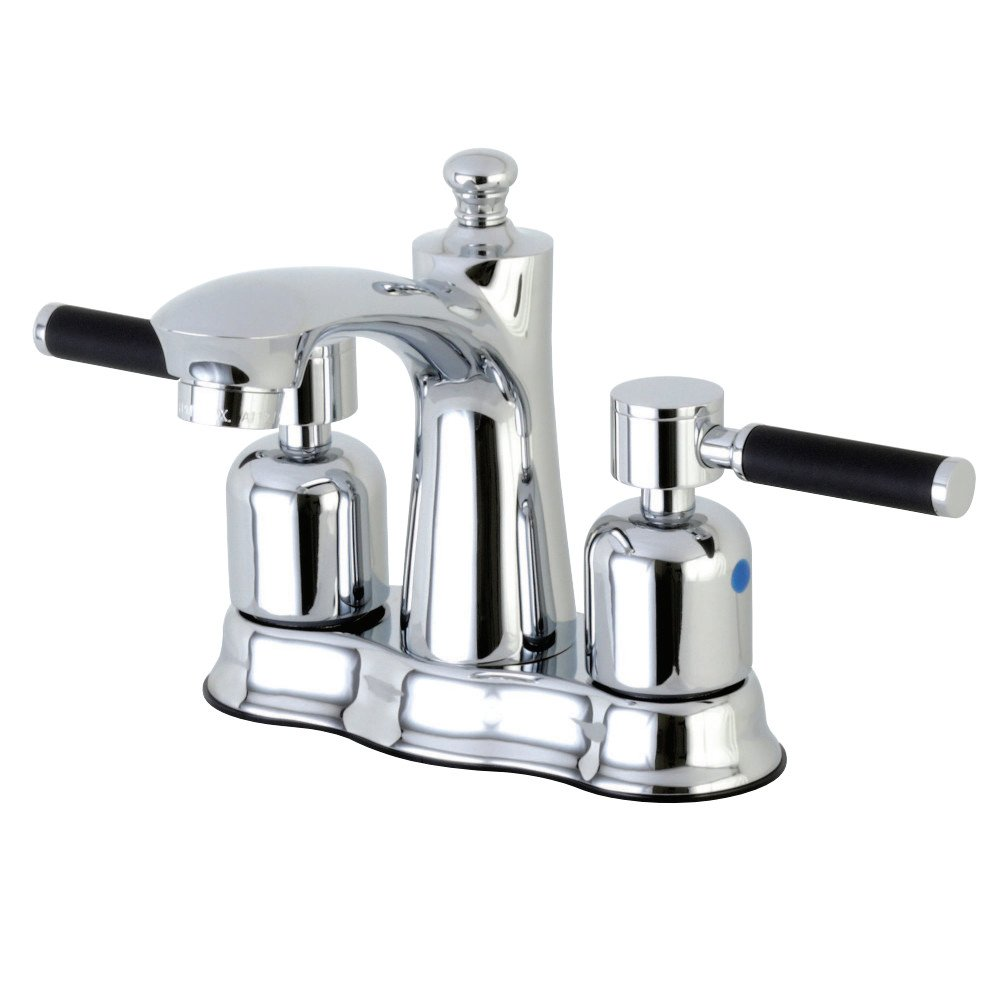 Kingston Brass FB7618DKL Kaiser 4-Inch Center set Lavatory Faucet with Retail Pop-Up Satin Nickel
