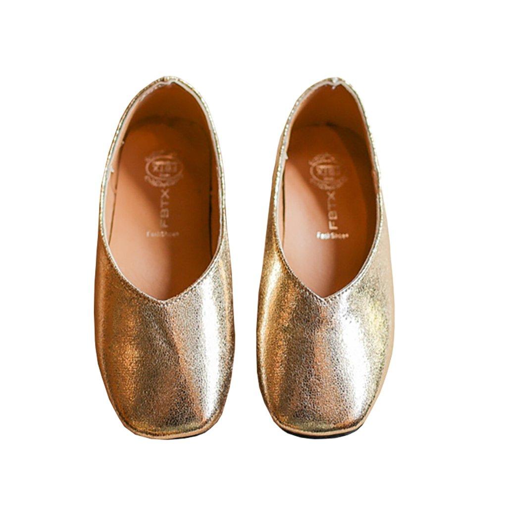 Toddler Girls Sparkle Slip On Loafers Flat Uniform Mary Jane Princess Dress Shoe Golden Size 27
