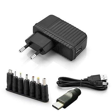 Aukru 5v 2a EU Fuente de alimentación Universal con 9 Conexiones de Enchufe para Varios Dispositivos para ...