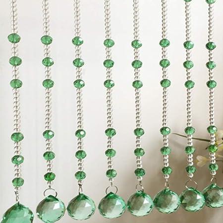 GDMING Cristal Cortinas De Hilos para Puertas Decoración Cortina De Cuentas Divisor De Habitaciones Balcón Purpurina Panel Cortina ,Personalizable (Color : Green, Size : 20strands-80X150CM): Amazon.es: Hogar