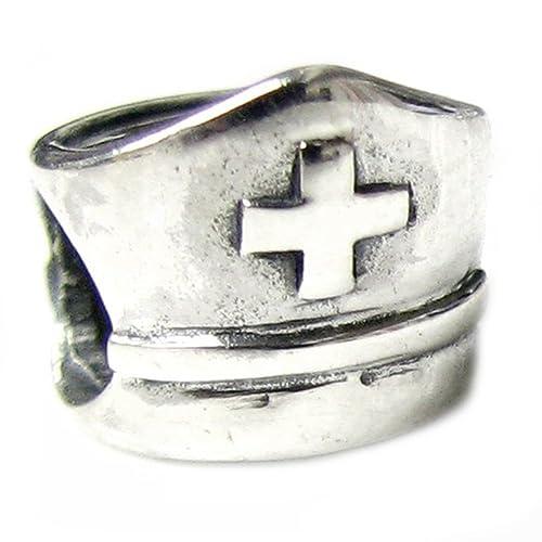 Queenberry - Colgante con forma de gorrito de Enfermera, de Plata esterlina, para usarlo como colgante en pulseras tipo Pandora y similares