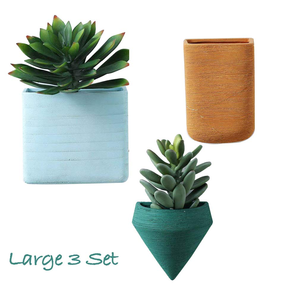 Set of 3 Large Wall Planters Ceramic Hanging Planters Geometric Wall Decor Container - Great Succulent Plants, Air Plant, Faux Plants ... by Purzest