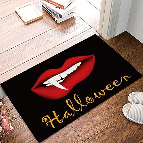 Halloween Theme Non Slip Floor Indoor Outdoor Entrance Door Mat With Red Lips¡¢Fang Non-Woven Fabric (Cat Lips For Halloween)