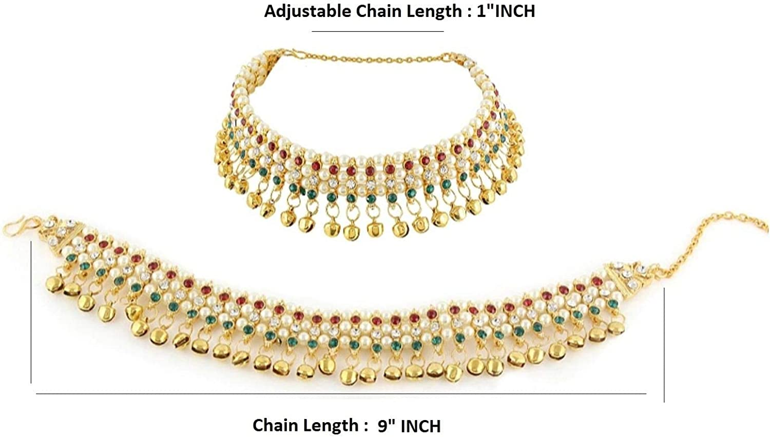 Boho foot pair anklet ankle bracelet silver bells costume India jewelry payal