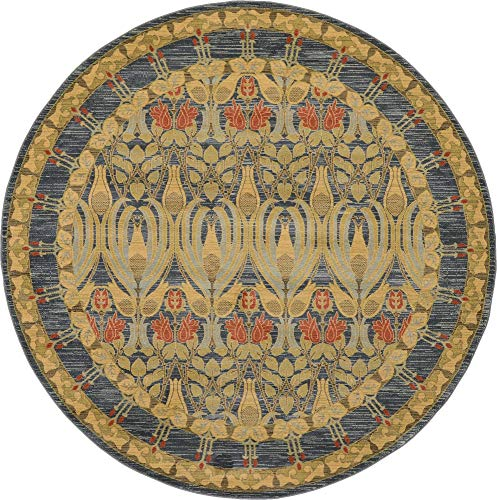 Unique Loom Edinburgh Collection Oriental Traditional French Country Navy Blue Round Rug (8' 0 x 8' 0)