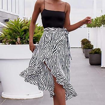 Ponfasnskall ❤ Faldas largas de Verano,Moda para Mujer Cebra con ...