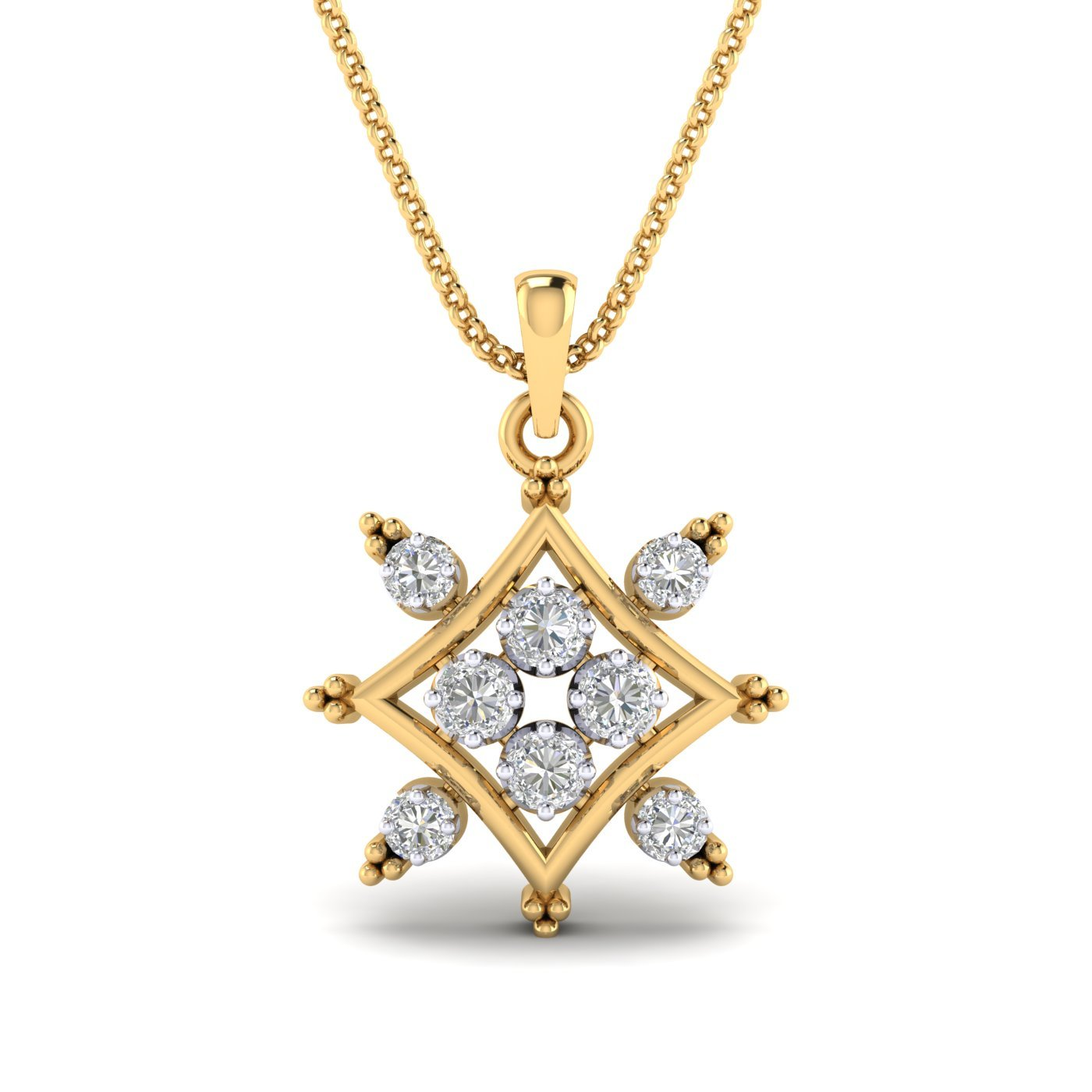 SwaraEcom 14K Yellow Gold Plated Round Cubic Zirconia Square Cluster Pendant Fashion Jewelry Summer Sale