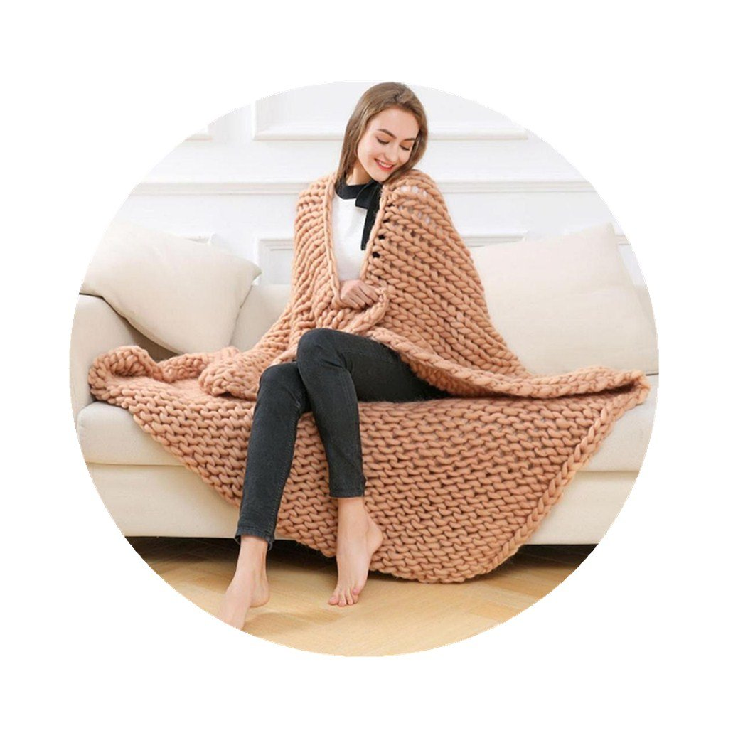 Wondere Handmade Knitted Chunky Blanket Thick Huge Bulky Knitting Throw Super large Gift Home Decor (Beige)