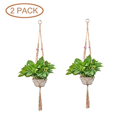 Macrame Air Plant Hanger 2Pack Vintage Hand-Braided Hanging Plant Holder with Colorful Beads Hanging Planter Boho Home Decor for Indoor Outdoor Plant Pot(105cm/41in): Garden & Outdoor
