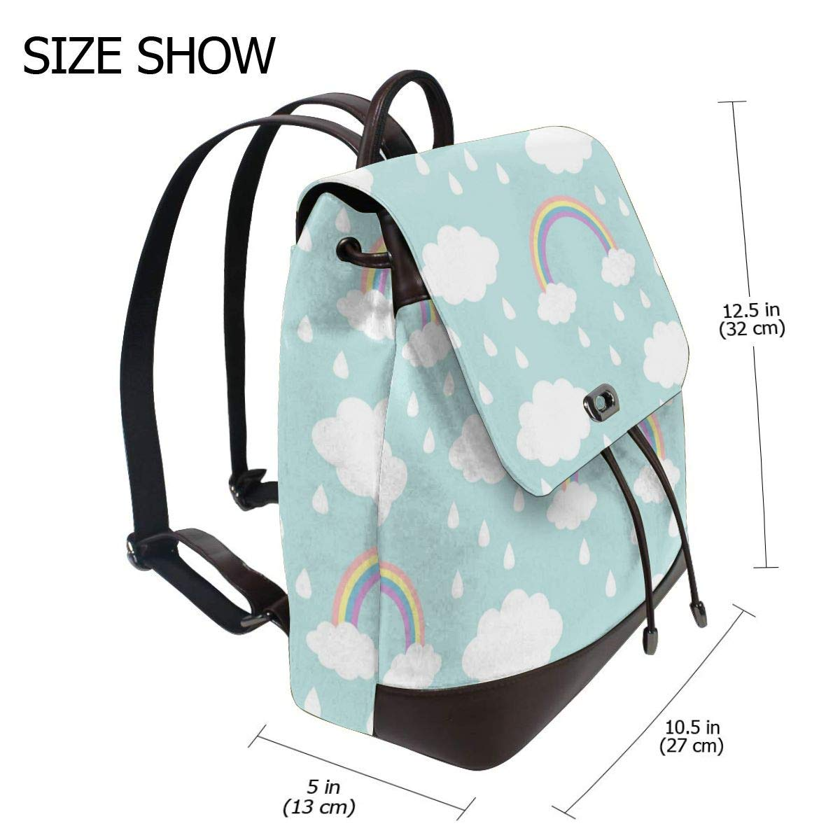 Cloud Rainbow Rain Womens Leather Backpack Travel Casual Elegant Drawstring Shoulder Bag