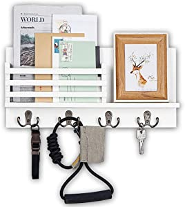Wooden Key and Mail Holder for Wall Decorative - Mail Organizer Wall Mount, Mail Sorter Organizer with 4 Key Rack Hooks, Rustic Hanging Decor for Entryway, Office, 100% Pine Wood (C-White)