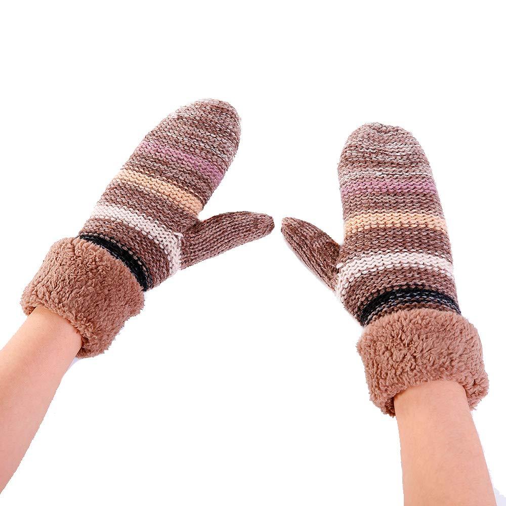BingYELH Women Warmer Stripe Cashmere Thicken Knitted Finger Plush Thermal Skiing Gloves Mitten