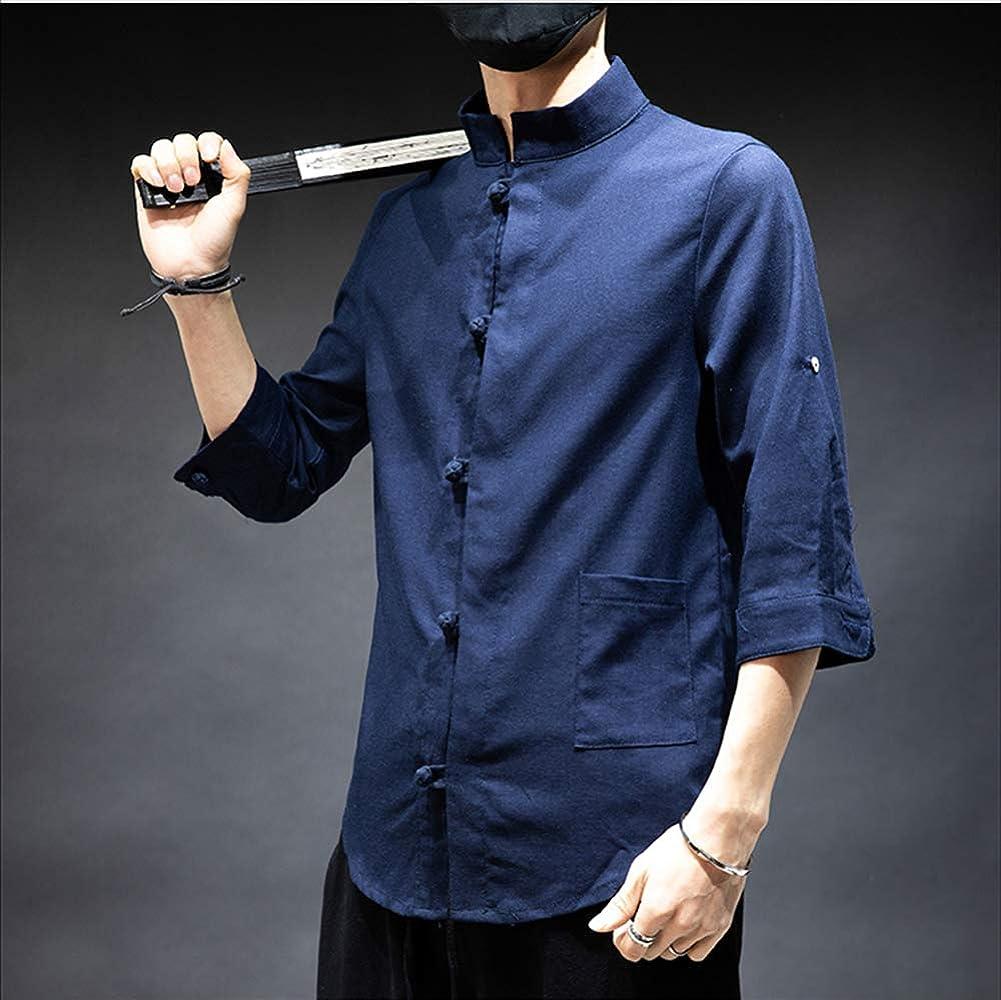 huateng Traje Chino Tang para Hombres Camisas de Lino de algodón con Botones Vintage Camisas Casuales para Hombres Hanfu: Amazon.es: Ropa y accesorios