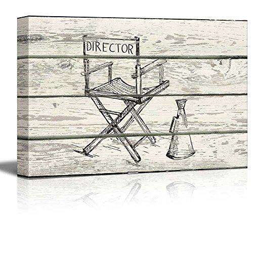 Directors Chair and Megaphone Sketch Artwork Rustic