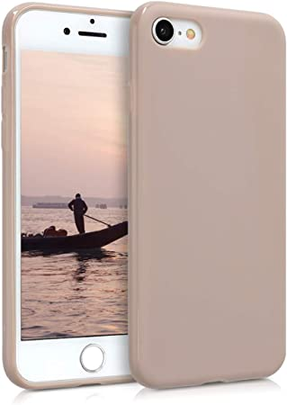 Image ofkwmobile Funda Compatible con Apple iPhone 7/8 / SE (2020) - Carcasa de TPU Silicona - Protector Trasero en Crema Mate