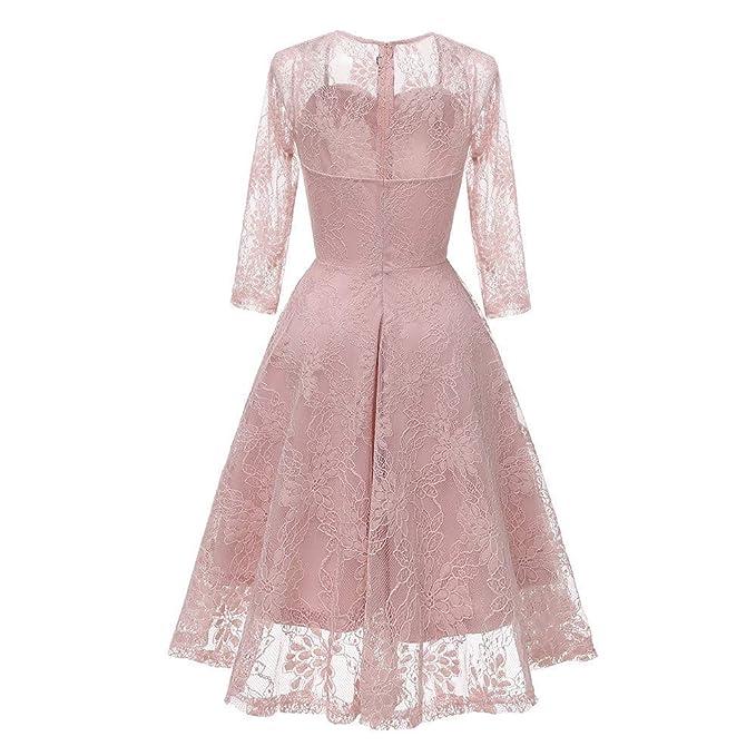 Qiusa Vestido de Boda de la Princesa del cordón del Partido de la Vendimia de Las Mujeres (Color : Rosado, tamaño : XX-Large): Amazon.es: Hogar