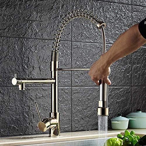 WXQ-XQ 実用的な現代の家庭のキッチンのシンクの蛇口2特集ホットとコールド蛇口プルテレスコピック春アメリカン回転可能な野菜流域の蛇口ゴールド美しいです